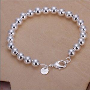 "Jewelry - 925 Stamped SS 7.5"" Beaded 8mm Beads Bracelet"